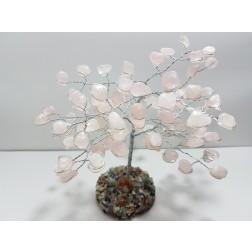 Árvore Quartzo Rosa C/ base de pedras variadas (16 CM)
