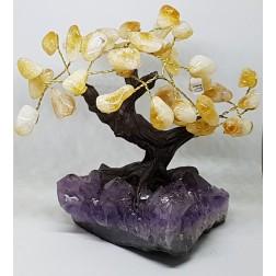 Árvore de Resina com Drusa de Ametista e Citrino Rolado Q1