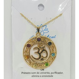 Colar Gargantilha 7 Chakras Simbolo OM - Banho Ouro